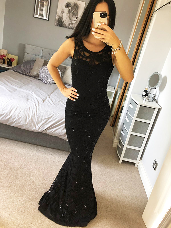 Details About Quiz Black Lace Sequin Dress Ball Gowndetail Long Fishtail Maxi Evening Prom