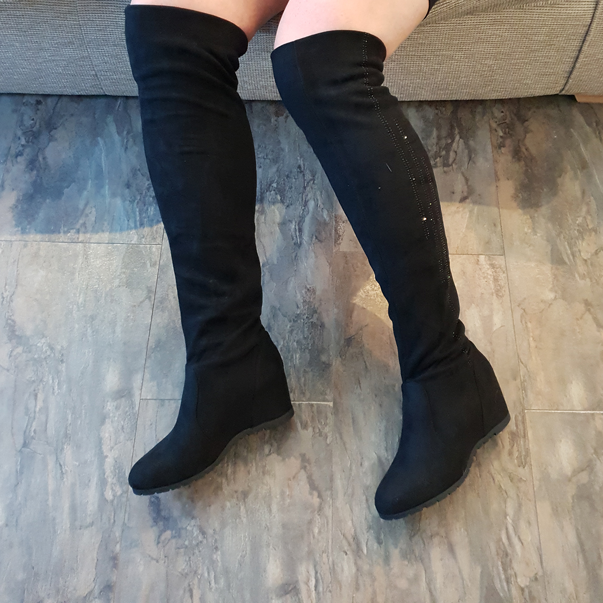 09ca3f2859e Details about WEDGE heel OVER THE KNEE Boots Womens Black Sequin Stretch  Faux Suede Ladies UK